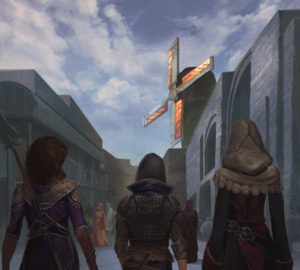 Three adventurers travel through Aontus, the capital of Lekelith, in the Lamentation's End Series. Artwork by Gerry Arthur.